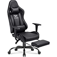 Vitesse Gaming Chair with Footrest Racing Style Computer Office Chair Adjustable Swivel Ergonomic PC Desk Bucket Seat Chair with Lumbar Support and Headrest (Black-1)
