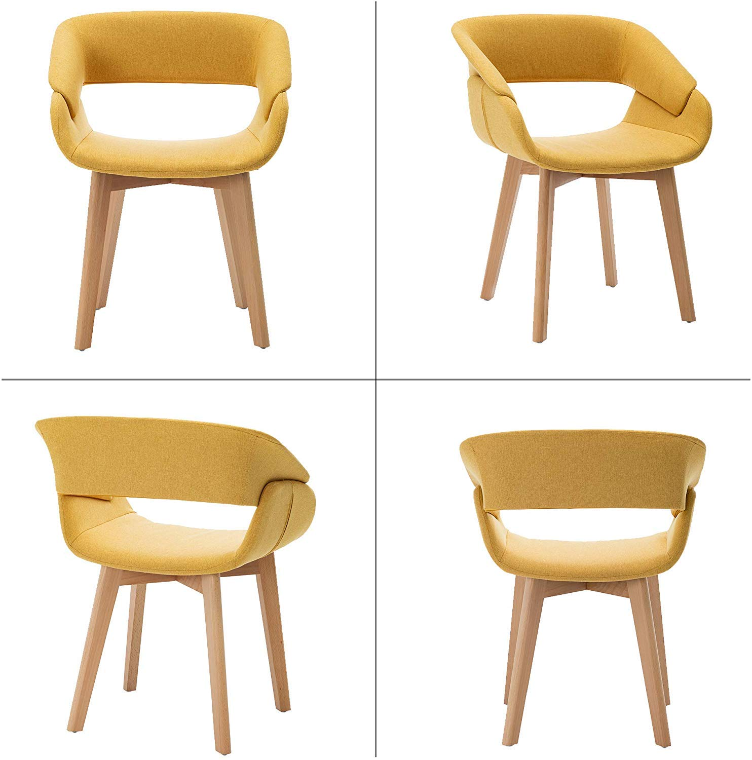 Teraves Dining Chair Set of 9 Office Lounge Living Room Kitchen Chair with  Wooden Legs Dining Room Chairs with Armrests and Backrest (9 pcs, Yellow)
