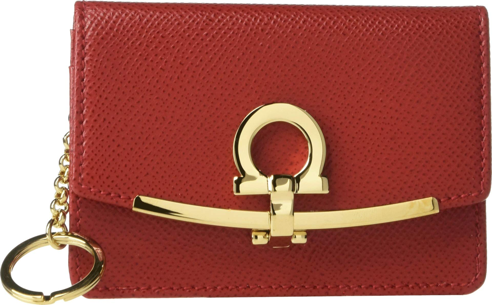 Salvatore Ferragamo Women's Gancio Clip Card Case, Lipstick, Red, One Size