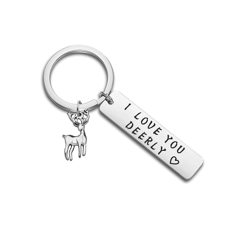 MYOSPARK I Love Y Deerly Keychain Deer Keychain Antlers Keychain Buck Keychain Deer Hunter Gift