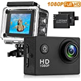 Action Camera , Waterproof 30m Sport Camera Full HD 1080P 2.0 Inch LCD Display 140 Degree Wide Angle Lens Sport Recorder Car Camera with Outdoor Accessories