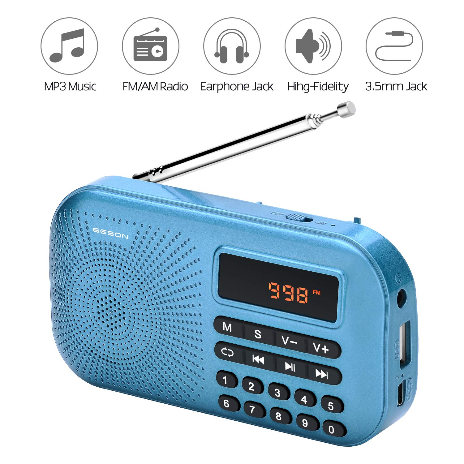 Portable AM FM Radio, Geson Mini Music Radio Player Support Micro SD Card/USB Disk with LED Screen Display (Blue) by Geson (Image #2)
