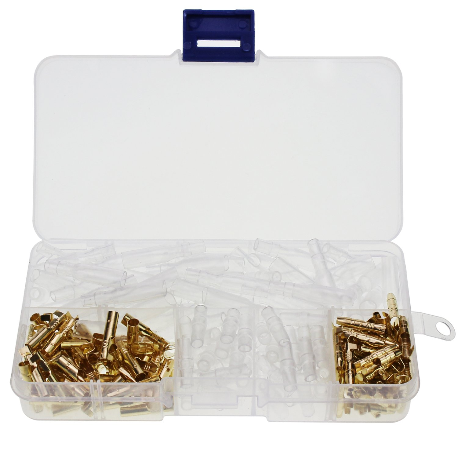 OCR Wire Terminal Crimp Male Female Spade Terminal Block Connector with Insulating Sleeve Assortment Kit 2.8mm 4.8mm 6.3mm 270pcs (240Pcs-Crimp Terminal)