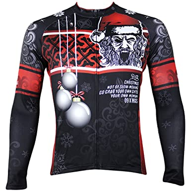 ILPALADINO Men s Cycling Jersey Long Sleeve Biking Shirts Christmas Santa  Claus ... 328953fee