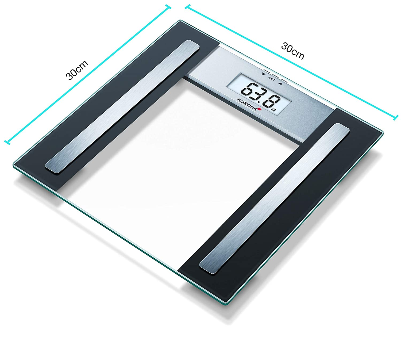 Korona Dolores Báscula de baño con indice de grasa corporal, escala hasta 150 kg, intervalos en gramos 100, transparente y negro: Amazon.es: Salud y cuidado ...