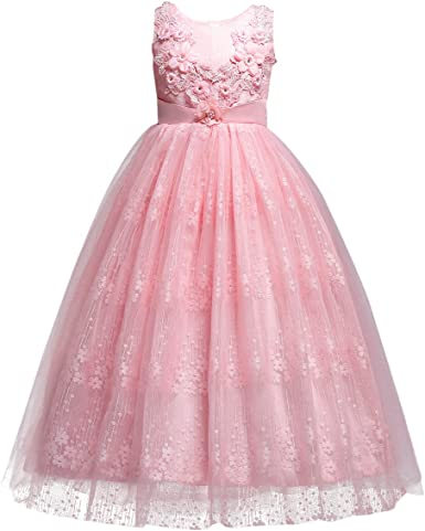 Girls Flower Tutu Dress Princess Sleeveless Wedding Bridesmaid Party Pageant