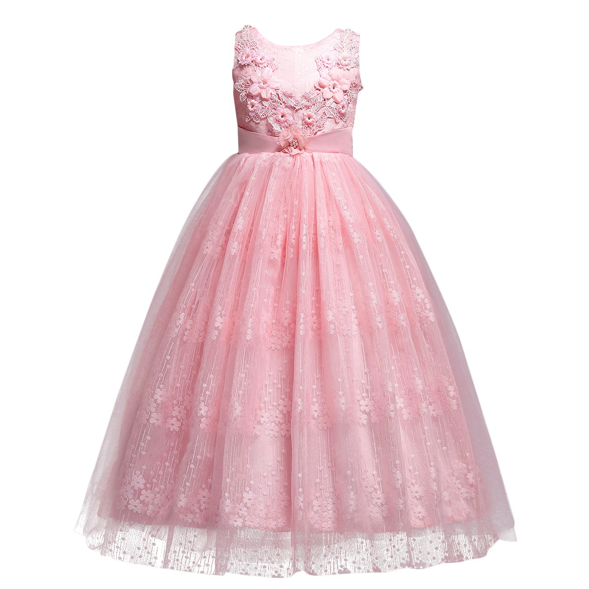b997ddf8d26f4e Amazon.com: Girls Flower Vintage Lace Princess Long Dress for Kids Tulle  Pageant Formal Party Wedding Floor Dance Evening Gown: Clothing