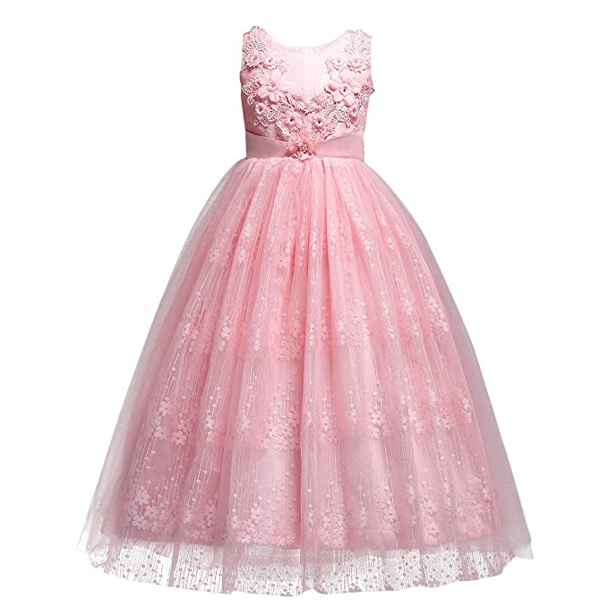 f5aeafa2871 Little Big Girls Tulle Retro Vintage Dresses Flower Lace Pageant Party  Wedding Floor Length Dance
