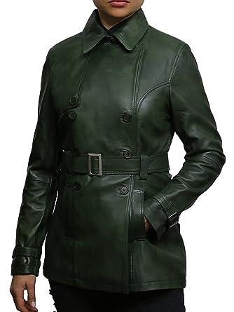40dd497ec ABSY Femmes Manteau de veste de motard en cuir vert superieur Design ...