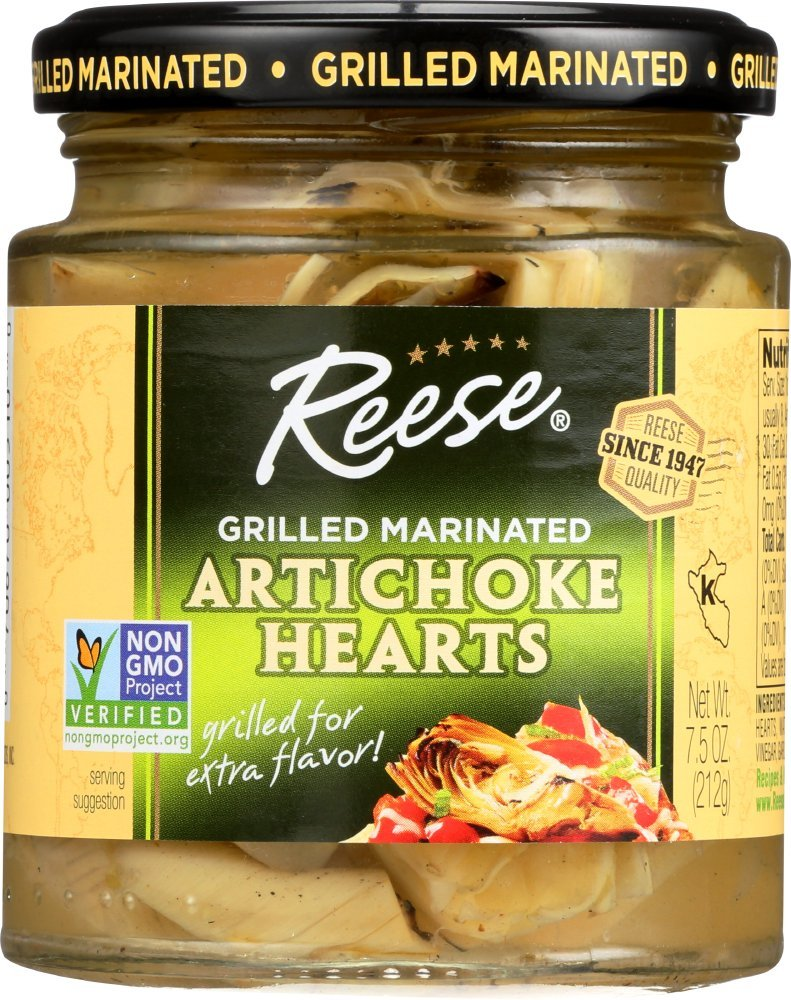 Reese Grilled Marinated Artichokes Hearts, 7.5-Ounces (Pack of 12)