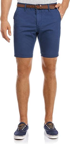 oodji Ultra Hombre Pantalón Corto Básico de Algodón, Azul, 36 ...