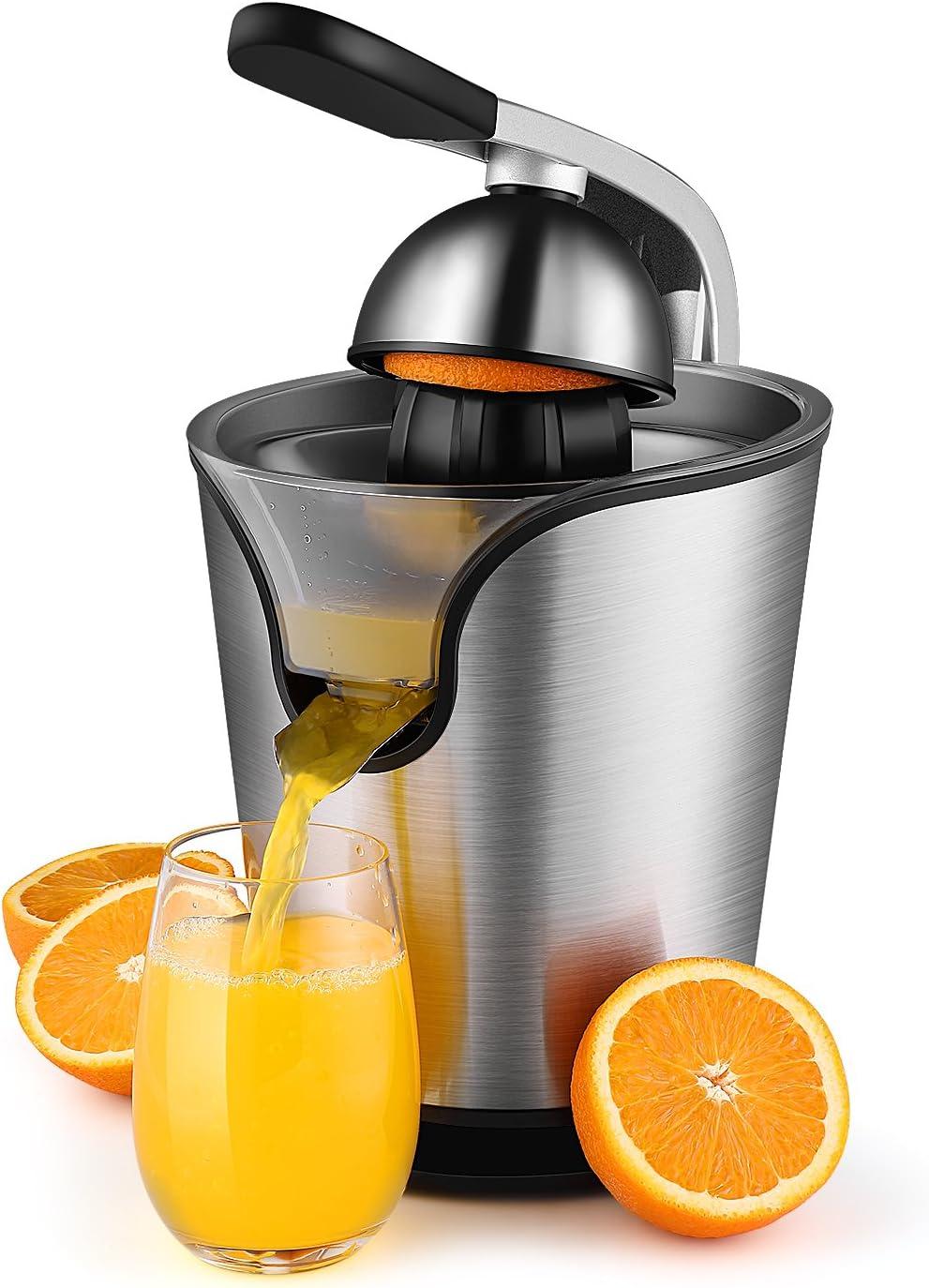 Hand Press Electric Citrus Orange Juicer Squeezer Machine - Motorized Pulp Control 160 Watt Juice Maker Extractor - Ergonomic Design Stainless Steel Stand with Rubber Handle and Cone Lid