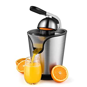 Hand Press Electric Citrus Orange Juicer Squeezer Machine - Motorized Pulp Control 160 Watt Juice Maker Extractor - Ergonomic Design Stainless Steel Stand with Rubber Handle and Cone Lid
