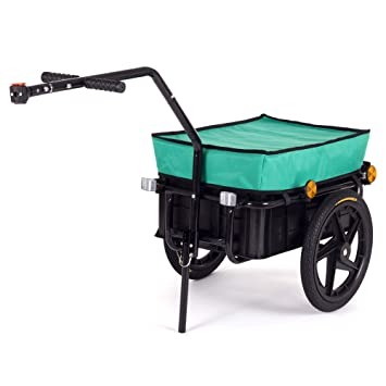 SAMAX Remolque de Bici Bicicleta Cesta extraible Rueda Neumaticos Remolque de transporte para Carga 60 kg / 70L en Verde - varios colores disponibles: ...