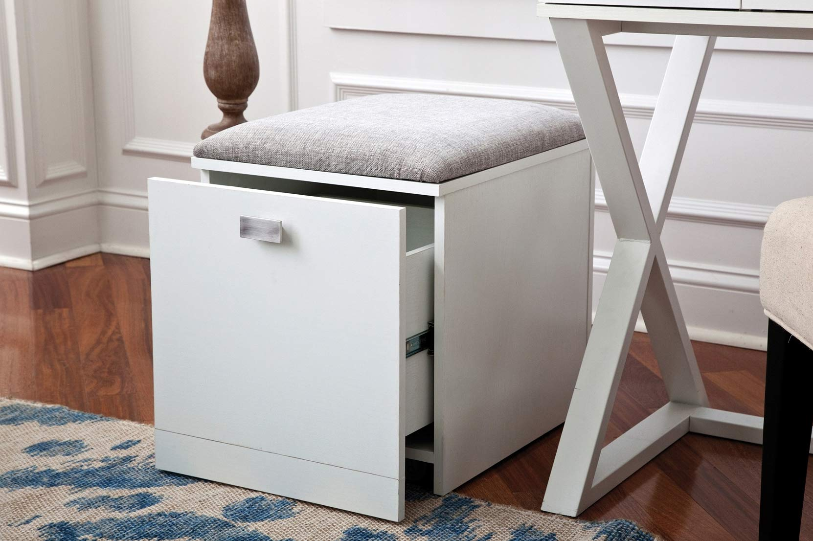 OS Home and Office 751997 Kate Cabinet and Stool in White File