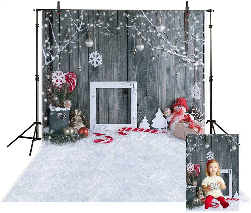 MEHOFOTO Christmas Photo Studio Booth Backgrounds Props Winter Wood Snowflake Christmas Bells Backdrops for Photography 6x8ft