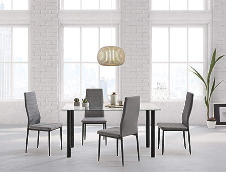 HOGAR24 ES-Conjunto Mesa 140 cm x 80 cm x 75 cm + 4 sillas Color ...