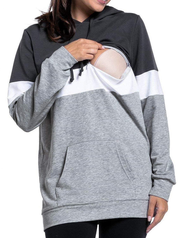 MisShow Womens Maternity Nursing Hoodie Breastfeeding Sweatshirt Hangaroo Pocket nursing hoodie-CQMC1868
