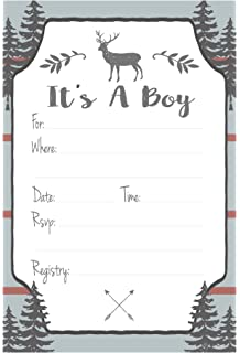 Rustic Deer Boy Baby Shower Invitations   Fill In Style (20 Count) With  Envelopes