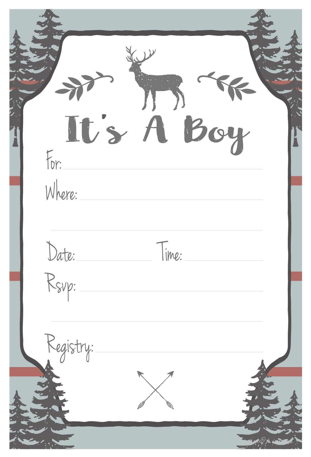 Rustic Deer Boy Baby Shower Invitations - Fill In Style (20 Count) With Envelopes