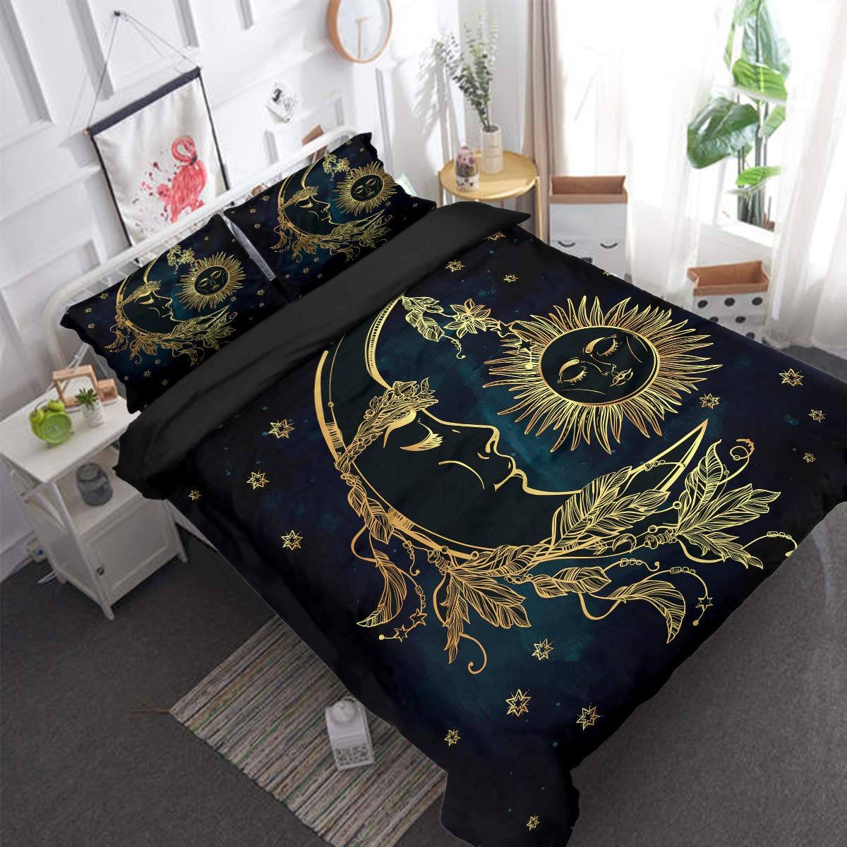 WONGS BEDDING Golden Mandala Duvet Cover 3D Printed Bohemian Floral Duvet Cover with Zipper Closure and 2 Pillowcases for Adults Teens and Girls King Size Navy Blue, 3 Pieces