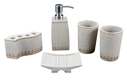 Toilet Accessoires Set : Amazon aimone pcs bathroom accessories set natural sand