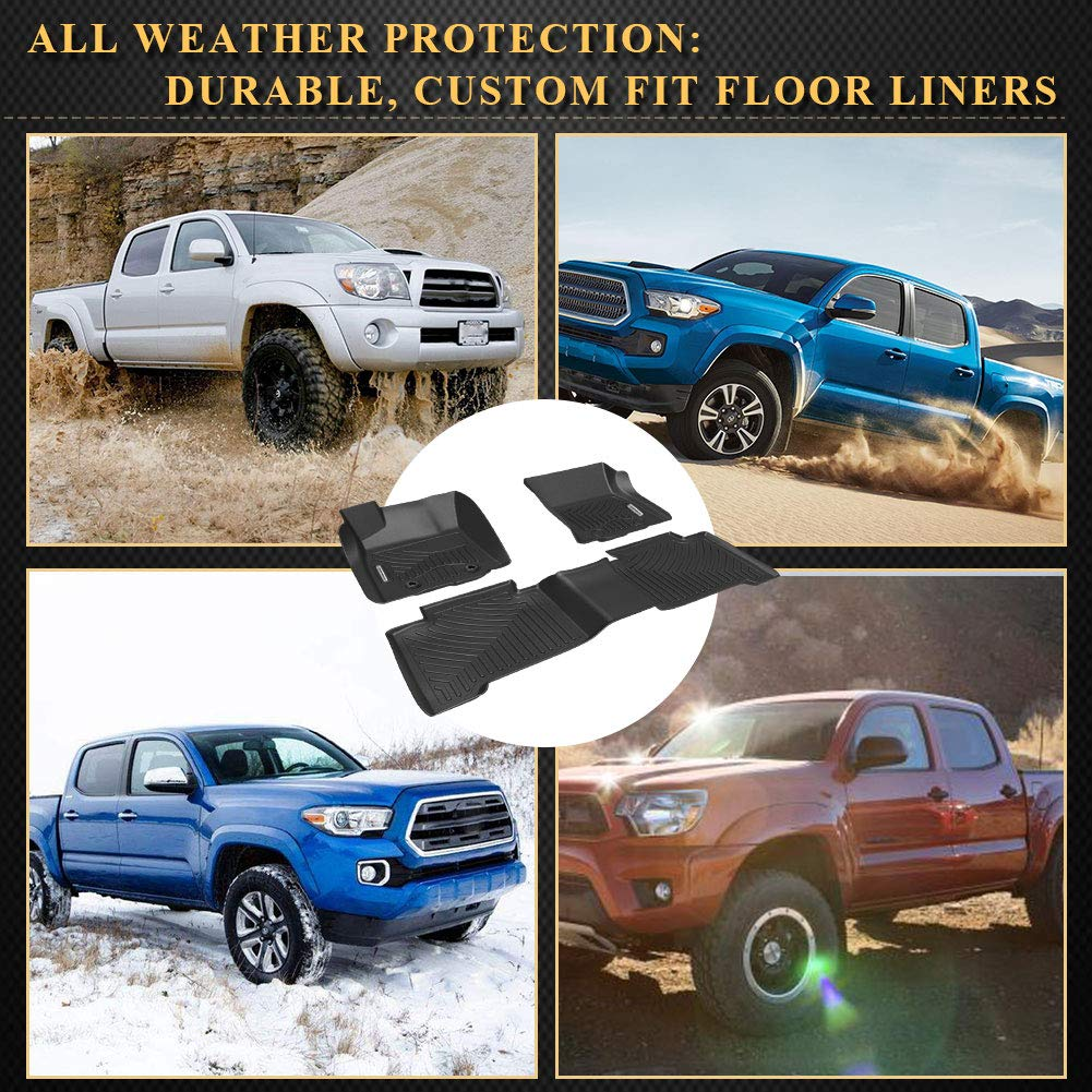 Custom fit Floor Liners for 2016-2017 Toyota Tacoma Double Cab 1st and 2nd Row Heavy Duty Rubber YITAMOTOR Floor Mats for Tacoma