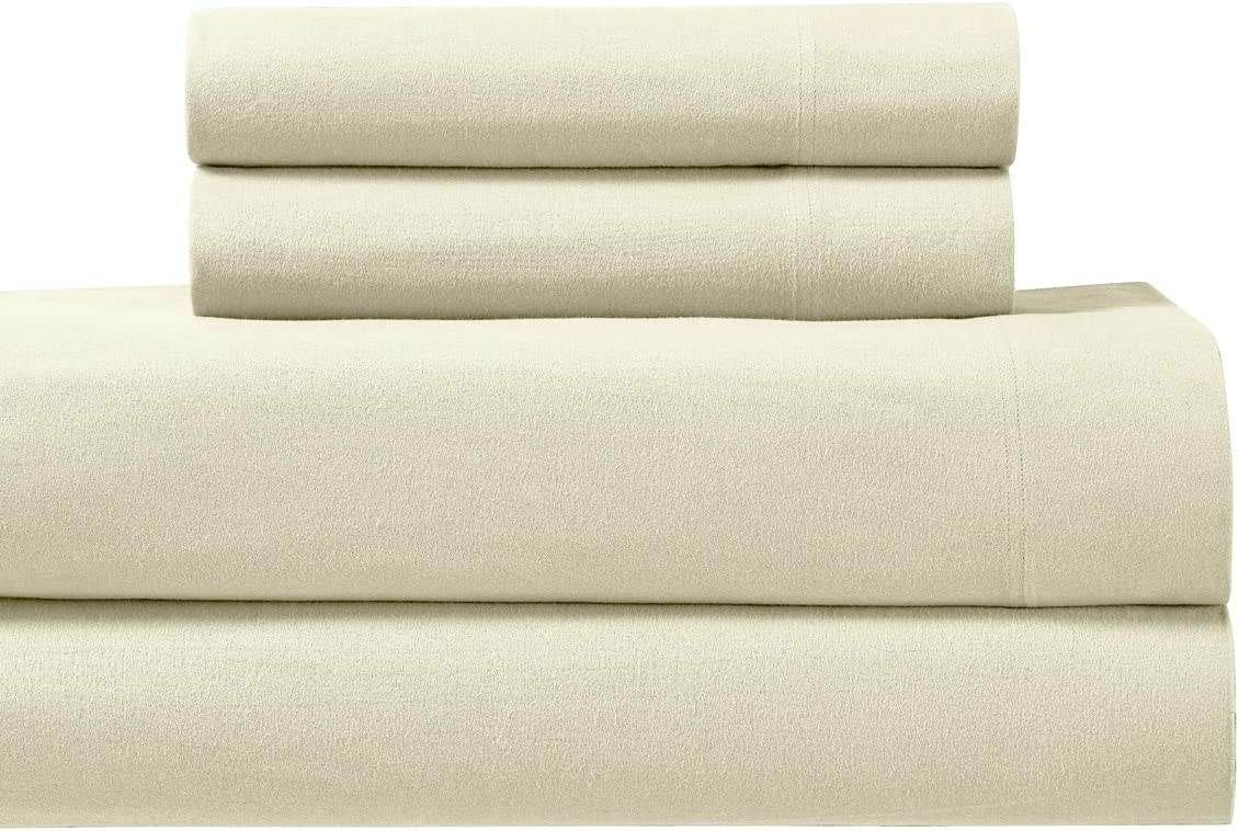 Royal Tradition Heavyweight Flannel, 100 Percent Cotton Twin Extra Long XL 3PC Bed Sheets Set, Ivory, 170 GSM