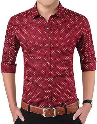 AIYINO - Camisa de manga larga para hombre con estampado a cuadros: Amazon.es: Ropa y accesorios
