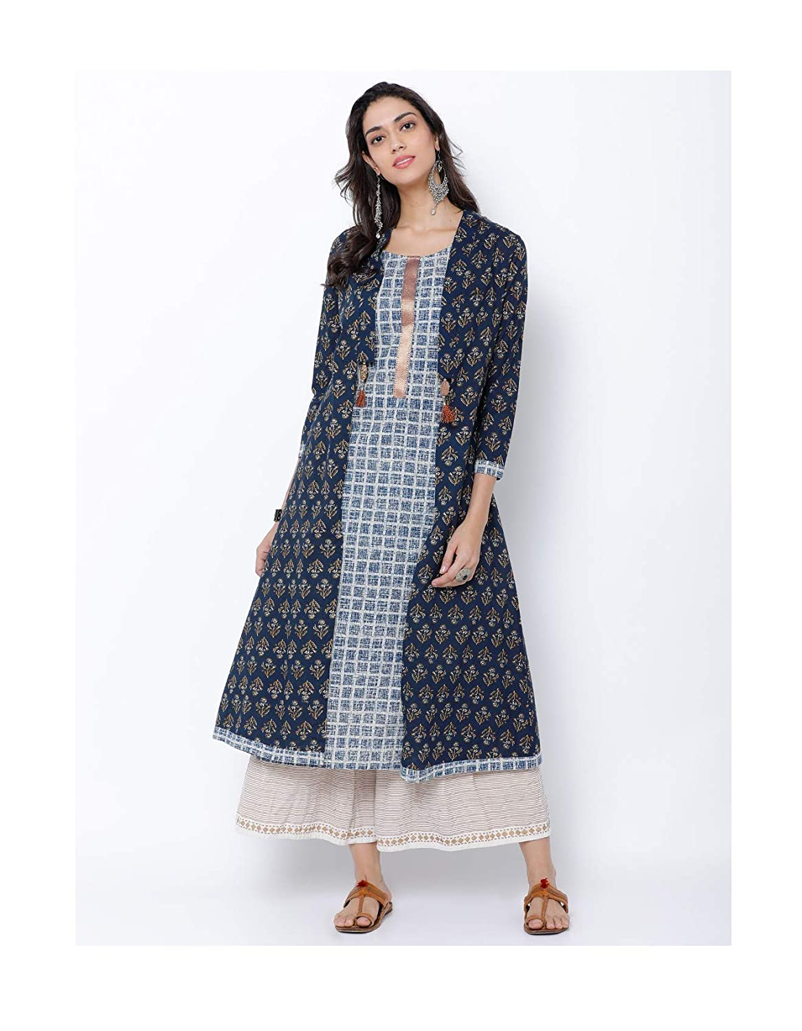 80839d19e7e12 Amazon.com  HIRAL DESIGNER MALL Plus Size Indian Kurti Blue Printed A-Line  Kurta  Clothing