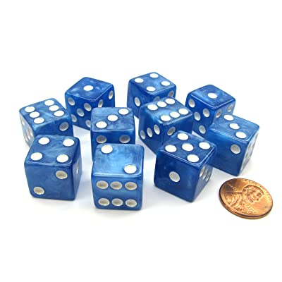 Koplow Games Set of 10 D6 16mm Marbleized Square Corner Dice - Blue with White Pips: Toys & Games