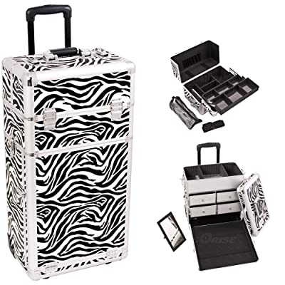 29 Inch Zebra Print Pattern Interchangeable Series Cosmetic Train Case Beauty Supply Holder Makup Travel Tote with 2 In-Line Wheels and Telescoping Tow Handle chic