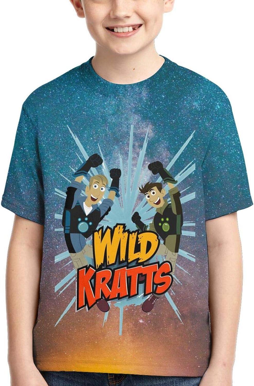 VPINSOU Wild Kratts Kids' T-Shirt Crewneck Shirts Short Sleeve Tee for Boys Girls