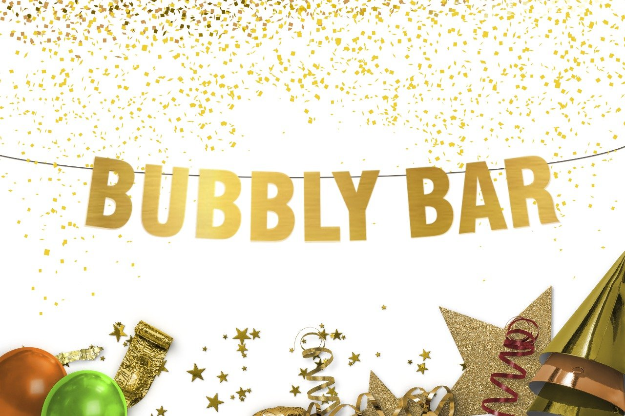 Bubbly Bar Banner - champagne brunch sign - photo props - Gold Banner - Brunch Party Decorations - bachelorette party - Bridal Shower - Wedding banner - Birthday banner - Reception - party supplies