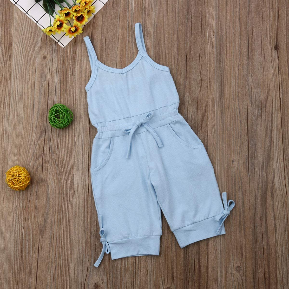 Balaflyie Toddler Girls Jumpsuit Romper Solid Color Strap One Piece Overall Summer Outfits