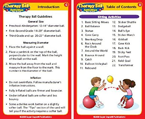 Amazon.com: Therapy Ball Activities Fun Deck Cards - Super Duper ...