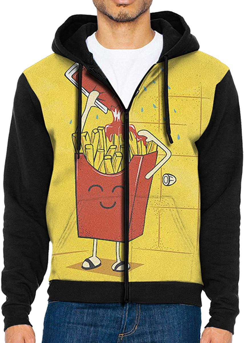 QWZXE MenFrench Fries Ketchup Full Zip Up Hooded Sweatshirt with Pocket