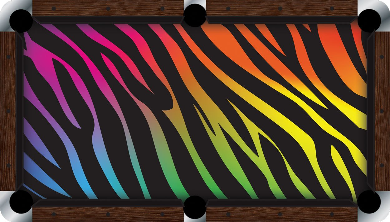 プールテーブルFeltビリヤードCloth – Vivid – Rainbow Zebra B01E5Z3B8S  9 foot