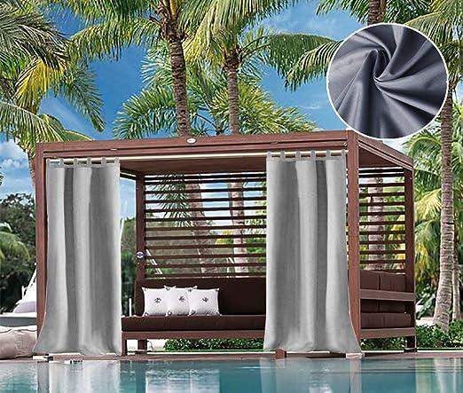 DOMDIL - Cortina para Exteriores con bucles, toldo de jardín y balcón a Prueba de Agua, antimoho, glorieta de Playa, 1 Pieza, Ancho: 132 cm de Altura: 230-275 cm, Color Gris: Amazon.es: Jardín
