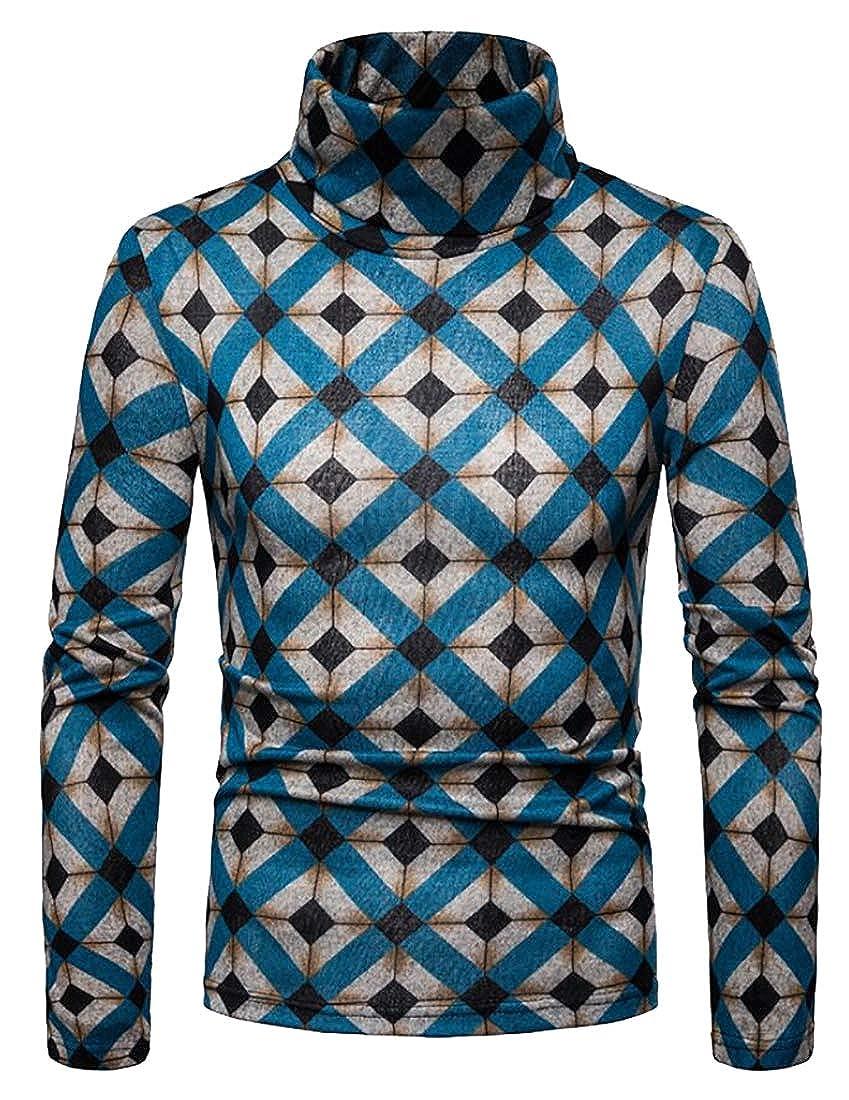 lovever Mens Classic Long Sleeve Geometric Print Turtleneck Hem Pullover Sweater