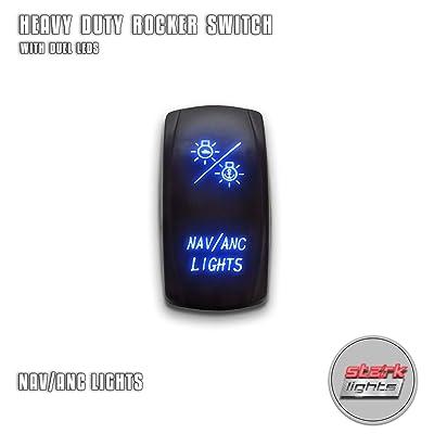 NAV ANC LIGHTS - Blue - STARK 5-PIN Laser Etched LED Rocker Switch Dual Light - 20A 12V ON/OFF: Automotive