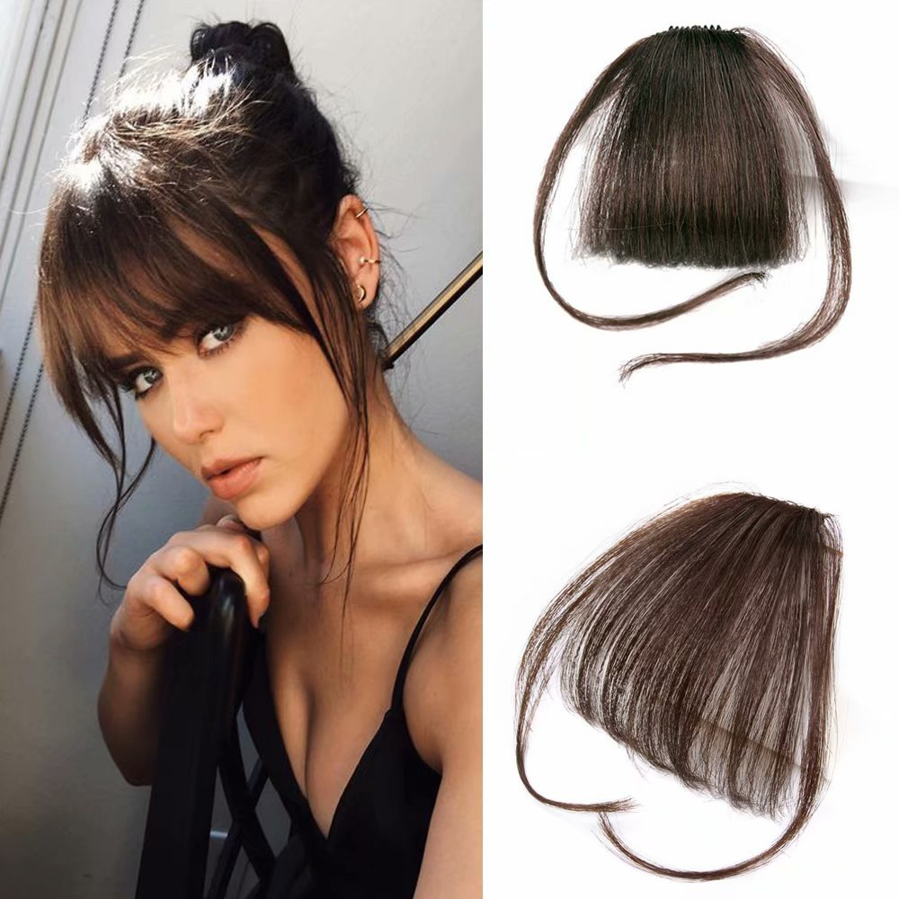 Reysaina Human Hair One Piece Straight Clip in Hair Extensions Flat Air Fringe Front Bangs with Hair Temples #4 Dark Brown by Reysaina