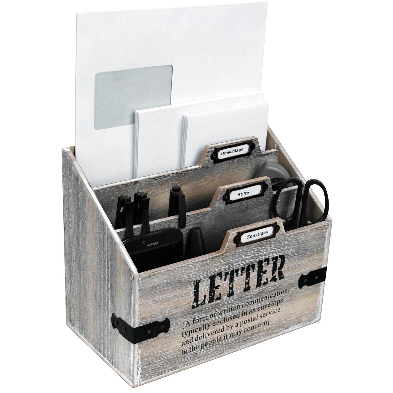 Holz Schreibtischorganizer Briefhalter Briefständer Briefablage Postablage Multistore 2002