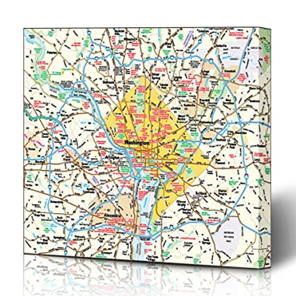 Amazon.com: Ahawoso Canvas Prints Wall Art 16x16 Inches City ... on map of san francisco area, map of miami area, map of chicago area, map of philadelphia area, map of santa maria ca area, map of barstow ca area, map of monterey ca area, map of business area, map of the dmv, map of delaware water gap area, map of chattanooga area, map of washington metro area, map of las vegas airport area, map of virginia area, map of st. george utah area, map of usps area, map of bend area, the dmv area, map of nyc area, map of va area,