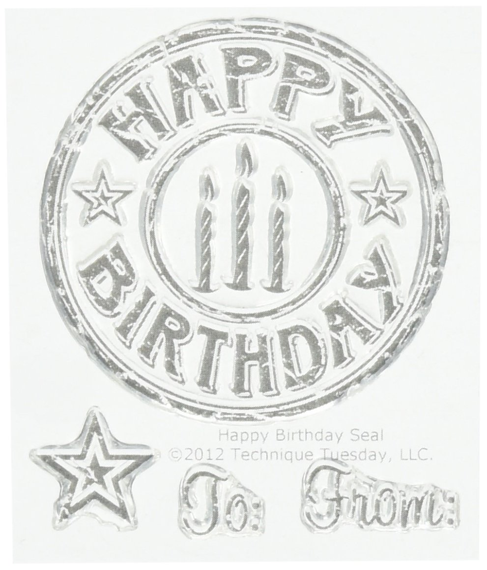 Technique Tuesday Clear Stamps 2''X2.5''-Happy Birthday Seal