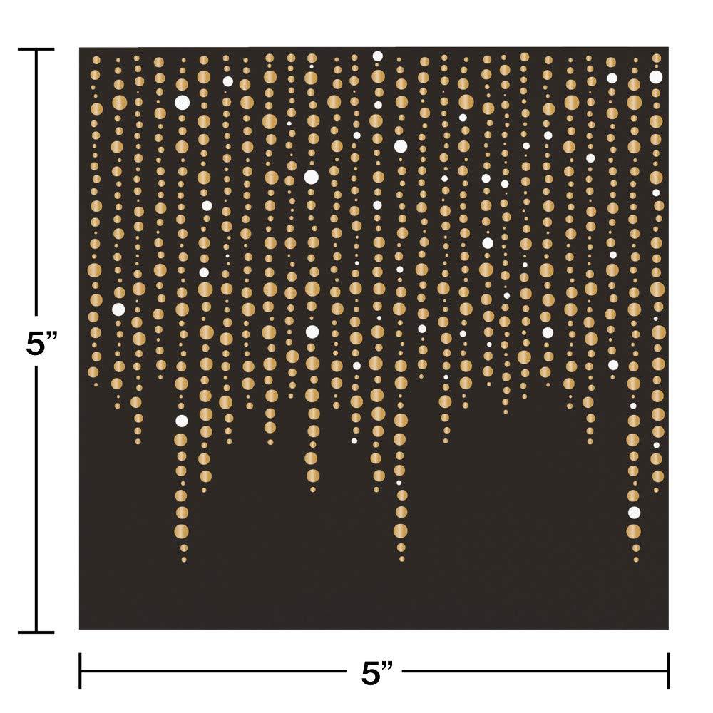 Black and Glittering Gold Foil Dots Beverage Napkins by Elise 48 ct