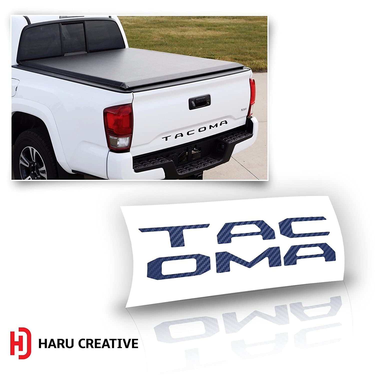 Haru Creative Rear Trunk Tailgate Letter Insert Decal Sticker Compatible with and Fits Toyota Tacoma 2016 2017 2018 2019 Carbon Fiber Silver Loyo