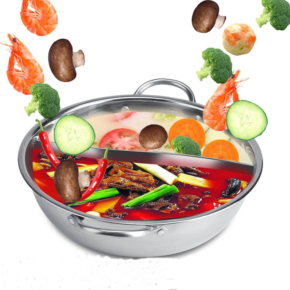 Acero inoxidable Hot Pot cocina de inducción de doble cara ...
