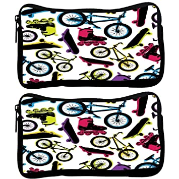 Snoogg Pack De 2 Tela en carreteras funda estudiante pluma lápiz caso bolsa de cosméticos bolsa de monedero: Amazon.es: Oficina y papelería