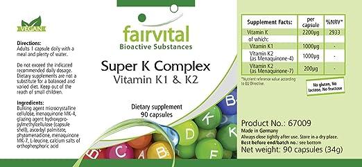 Vitamina K complex - VEGANO - Altamente dosificado - 90 Cápsulas ...